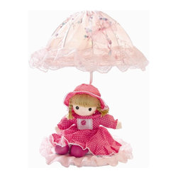 Lite Source - Baby Doll Table Lamp in Pink w Laced Fabric Shade - Candelabra bulb with medium base included. Shade dimension: 1.75 in. L x 11.75 in. W x 7.75 in. H. Lamp dimension/fixture: 15 in. W x 18.5 in. H (5.5 lbs.). Product Installation Instructions