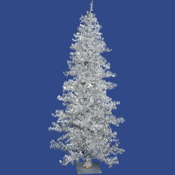 Vickerman Silver Wide Cut Christmas Tree - Simple, elegant, and perfect for Christmas, the Vickerman Silver Wide Cut Christmas Tree resembles a beautiful tree covered in frost that's been specially delivered from the North Pole. Pre-lit with clear lights which add a soft, sophisticated glow, this gorgeous tree even has a genuine look with its durable and bristly PVC branches. Perfect for your home or office, you'll love the storybook feel of this tree. Specifications for 6-Foot Tree Shape: Slim Base Width: 40 inches Number of Bulbs: 200 Number of Tips: 579 Specifications for 7.5-Foot Tree Shape: Slim Base Width: 44 inches Number of Bulbs: 300 Number of Tips: 901 Specifications for 9-Foot Tree Shape: Slim Base Width: 51 inches Number of Bulbs: 400 Number of Tips: 1331 Don't Forget to Fluff!Simply start at the top and work in a spiral motion down the tree. For best results, you'll want to start from the inside and work out, making sure to touch every branch, positioning them up and down in a variety of ways, checking for any open spaces as you go.As you work your way down, the spiral motion will ensure that you won't have any gaps. And by touching every branch you'll create the desired full, natural look. About VickermanThis product is proudly made by Vickerman; a leader in high quality holiday decor. Founded in 1940; the Vickerman Company has established itself as an innovative company dedicated to exceeding the expectations of their customers. With a wide variety of remarkably realistic looking foliage; greenery and beautiful trees; Vickerman is a name you can trust for helping you create beloved holiday memories year after year.