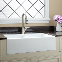 """33"""" Angove Double-Bowl Cast Iron Farmhouse Sink - Blending a modern squared shape and with the classic beauty of farmhouse style, the Angove adds a refreshing look to any kitchen."""