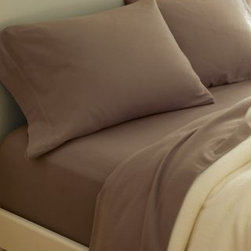 Garnet Hill - Garnet Hill Paintbrush Cotton Flannel Sheets - California King - Fitted - Cocoa - This cotton flannel bedding is featured in modern colors designed to mix and match. This flannel bedding is made in Portugal of pure cotton that's brushed on both sides for softness. Fitted sheet is fully elasticized for a better fit. Pocket depth 12 inches.