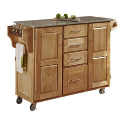 Home Styles - Home Styles Furniture Natural Wood Island Cart with Salt and Pepper Granite Top - Home Styles - Kitchen Carts - 91001013 - Home Styles Create-a-cart in a natural finish with a salt and pepper granite top features solid wood construction and 4-Utility drawers; 2 cabinet doors open to storage with adjustable shelf inside; Handy spice rack with Towel bar; Paper Towel holder; Heavy duty locking rubber casters for easy mobility and safety.