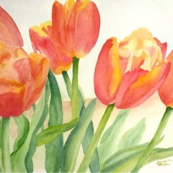 Petal Flames, Original Watercolor - There is so much to love about watercolor.  All of the shades and no color at all, with endless possibilities, even with only one image, we could explore it in infinite ways.