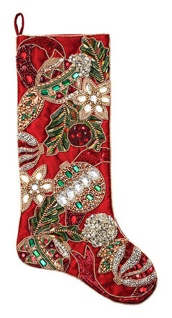 Deck the Halls Stocking - Red and Green - Made to compliment the Deck the Halls Tree Skirt, the matching Deck the Halls Stocking will add a polished and put together look for your holiday home when paired together. Exquisitely beaded and embroidered ornaments summon the season as they dance across the surface of this bold and festive stocking. For those that appreciate a more upscale look for their holiday decor, these stockings set the scene for the most wonderful time of the year.