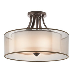 KICHLER - KICHLER 42387AP Lacey Transitional Semi-Flush Mount Ceiling Light - The Kichler Lacey Collection offers a beautiful contrast, melding the charm of Olde World style with clean modern-day materials. It starts with our new Mission Bronze™ finish and bold, unadorned rounded-arm styling. It finishes with avant-garde double shades made of decorative meshed screens and opal inner glass. The result is a highly versatile collection to complement virtually every home décor. Fixture requires supply wire rated for at least 75° C.