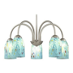 Design Classics Lighting - Chandelier with Blue Art Glass in Satin Nickel Finish - 591-09 GL1021D - Transitional satin nickel 5-light chandelier light with turquoise blue ocean dome art glass shades. Takes (5) 100-watt incandescent A19 bulb(s). Bulb(s) sold separately. UL listed. Dry location rated.
