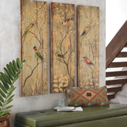 Grandin Road - Calima Bird Triptych - Finely printed paper over engineered wood. Designed to stand together, but just as effective separate. Ready to hang. Designed to pay tribute to the exquisite, hand-painted bird studies of a bygone era, our Calima Bird Triptych will have a soothing effect on your decor. Panels resemble time-worn fence boards and feature brightly colored birds perched among muted foliage.  .  .  .