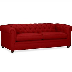 """Chesterfield Upholstered Grand Sofa, Twill Sierra Red - Comfort and style define our Chesterfield Collection, expertly crafted in America using eco-friendly components. The sofa is detailed with deep button tufts and plush, sheltering arms. 96"""" w x 41"""" d x 31"""" h {{link path='pages/popups/PB-FG-Chesterfield-3.html' class='popup' width='720' height='800'}}View the dimension diagram for more information{{/link}}. {{link path='pages/popups/PB-FG-Chesterfield-4.html' class='popup' width='720' height='800'}}The fit & measuring guide should be read prior to placing your order{{/link}}. Polyester-wrapped cushions have a tailored and neat look. Proudly made in America, {{link path='/stylehouse/videos/videos/pbq_v36_rel.html?cm_sp=Video_PIP-_-PBQUALITY-_-SUTTER_STREET' class='popup' width='950' height='300'}}view video{{/link}}. For shipping and return information, click on the shipping info tab. When making your selection, see the Special Order fabrics below. {{link path='pages/popups/PB-FG-Chesterfield-5.html' class='popup' width='720' height='800'}} Additional fabrics not shown below can be seen here{{/link}}. Please call 1.888.779.5176 to place your order for these additional fabrics."""