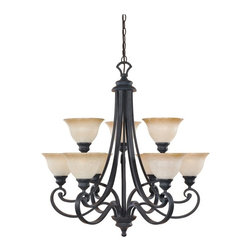 Designers Fountain - Designers Fountain 96189 Barcelona 9 Light Chandelier in Natural Iron Finish Mul - Shop for Chandeliers from Hayneedle.com! The Designers Fountain 96189 Barcelona 9 Light Chandelier in Natural Iron Finish recreates a classic design and infuses it with upscale charm making it the perfect choice for casual or formal settings. Hand-forged graceful scrollwork in natural iron finish beautifully complements the delicate ochere-finished glass shades creating a fixture that is sure to shine bright in your foyer or formal dining space. Nine 100-watt incandescent medium base bulbs (not included) emit a warm glow for atmospheric dining and entertaining enhancing this handsome 2-tier chandelier's timeless appeal. It comes with 10 feet of chain for installation.About Designers FountainHeadquartered in sunny Los Angeles Designers Fountain lets you show off your creative side. Indulge yourself and your home with a range of lighting styles from contemporary to classic each crafted with care from high-quality materials. Designers Fountain supplies lighting fixtures to over 1 200 authorized North American dealers and sources designs from across the world. Get quality lighting that enhances your home while impressing you with its affordable price... only from Designers Fountain.