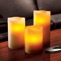 Sarah Peyton - Sarah Peyton 3-piece Flameless LED Candle Set with Remote - Realist LED candles provide all the warmth and ambiance of natural candlelight with none of the danger. This three-piece set of battery-operated flameless candles works with a remote and features real wax construction for a true-to-life appearance.