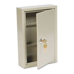 "MMF POS - Steel Key Cabinet, 40-Key, Steel, Sand, 8 X 2 5/8 X 12 1/8 - Features quality, welded-steel construction with paracentric security lock and two keys. Comes with numbered key tags and lock location charts. Keys attach to numbered tags (included) and are stored on rack slots for easy identification. When a key is loaned or issued, an ""Out Key"" control tag recording key number, key recipient and date can be filled out. Piano-hinged door opens and closes easily. Key Capacity: 40; Material(s): Steel; Color(s): Sand."