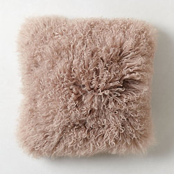 Luxe Fur Pillow, Mauve - I love this powdery mauve purple pillow. I'm a sucker for Mongolian sheepskin, and this will be cozy for the winter.