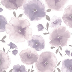 Graham & Brown - Poppies Lavender Wallpaper - Gorgeously delicate layered poppies in a soft watercolour treatment. Designed to sit with Waterfall stripe.