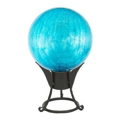 "Achla - Gazing Globe in Crackle Teal (6 in.) - Choose Size: 6 in.Made of Hand-blown Glass. Sealed at the bottom for longevity. Crackle Teal finish. Warranty: 90 days. 6 in.: 6 in. L x 6 in. W x 8 in. H (2 lbs.). 10 in.: 10 in. L x 10 in. W x 12 in. H (4 lbs.). 12 in.: 12 in. L x 12 in. W x 14 in. H (8 lbs.)Named ""Spheres of Light"" by Antonio Neri in 1612, they are most commonly known to fend off misfortune and deliver happiness and joy. The first gazing globes date back to 13th century Venice. Add color, charm, and good luck with the crackle gazing globes of Achla Designs."