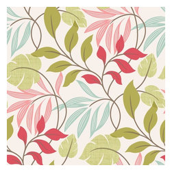 Brewster Home Fashions - Eden Pink Modern Leaf Trail Wallpaper Bolt - This freshly exotic wallcovering blooms beauty on walls with an energizing color palette of bright pinks greens and blues and a flourishing leaf design that boasts modern charm.