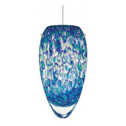 """LBL Lighting - Sam low voltage pendant lamp - Products description:  The Sam low voltage pendant lamp from LBL Lighting is designed by LBL Lighting and made in the USA.The Sam low voltage pendantlamp is made fordomestic and commercial use and comes with mounting options FSJ, MPT, MR2 and MRL. This fixture features a patterned blown glass with murrine combinations, in blue with green or caramel with 6 feet of field-cuttable suspension cable in either a bronze or satin nickel finish.   This fixture is compatible with theLBL Single Circuit Monorail,LBL Two-Circuit Monorail, orLBL Fusion Jack Canopies.                                              Manufacturer:                                           LBL Lighting                                                              Designer:                                           LBL Lighting                                                              Made  in:                                          USA                                                              Dimensions:                                           Height: 3.8"""" (9.5cm) X Width: 7.5"""" (19.1cm)                                                              Light bulb:                                           1X 50WGY6.35 Xenon or 1 X 6W LED                                                              Material                                           Metal, glass"""