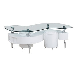 Global Furniture - Global Furniture USA 288WHC Glass Coffee Table in White w/ White Stools - This modern coffee table is finished in white.  The s-shape design house extra storage and the stools can provide extra seating for any living room.