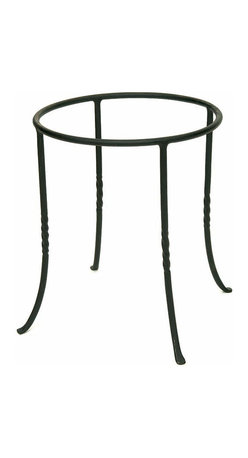 Achla - Iron Ring Planter Stand - The Iron Ring Planter Stand is designed for use with the Globe Planter Jar, but can support a wide variety of different ornamental displays.  Its slim elegant legs and ring holder are finished in a black powder coat for maximum protection against the elements. * Made of Iron. Black Powdercoat finish. Weight Limit: 50 lbs. 12 in. Dia. x 14 in. H