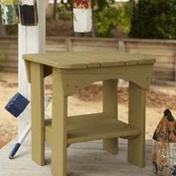 Uwharrie Chair - Uwharrie Chair Original Wood Square End Table - The classic look of traditional wood furniture adds a level of rustic sophistication to any patio. Utilizing time tested and proven construction methods and modern pressure treatment techniques Uwharrrie furniture is designed to last for years. Uwharrie's chair offer exceptional comfort as well as durability. The traditional designs can also be lightly or fully distressed to give the chairs the appearance of a treasured family heirloom.  Features include Lifetime Warranty Eco-Friendly All-Weather Natural pressure treated pine Premium polymer available Rustically styled outdoor furniture Classic look of wood material All-weather resistance to wet weather as well as rust Crafted for years of dependable outdoor use Offered in wide selection of wood colors Square corner chape Wood table top Commercial Grade.