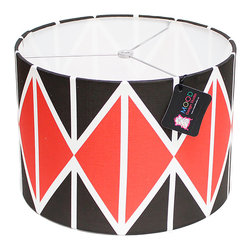 Mood Design Studio - Modern Lamp Shade - Striking Diamonds - Black and Red - Mood Design Studio brings bold, modern, and colorful accessories into your home. All of our designs begin on paper by sketching ideas for fabric collections. We research color trends and mix in inspiration from the fashion runways as well as from our favorite mid century design books. Our fabrics are printed in the USA using eco friendly dyes and printing methods.