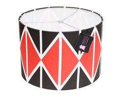 """Mood Design Studio - Modern Lamp Shade - Striking Diamonds - Black and Red, 12"""" - Mood Design Studio brings bold, modern, and colorful accessories into your home. All of our designs begin on paper by sketching ideas for fabric collections. We research color trends and mix in inspiration from the fashion runways as well as from our favorite mid century design books. Our fabrics are printed in the USA using eco friendly dyes and printing methods."""