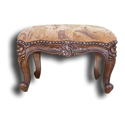 EuroLux Home - New Footstool French Country Wood Carvings - Product Details