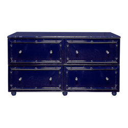 World Away - Worlds Away Dresser, Navy Lacquer - Slip into the land of nod next to this navy blue lacquer four-drawer dresser. The deep, dark midnight blue color on the Asian-inspired bamboo chest fits well in an outer-space-themed kids room or as a sophisticated bureau in your living quarters.