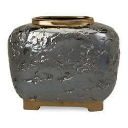"""Silver Nest - Crete Vase- Small- 10.75""""h - The sophisticated Crete Vase blends organic texture and elegant finishes to create an accent piece worthy of the spotlight. Made of 100% ceramic material."""