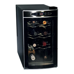 Koolatron - 8 Bottle Wine Cellar - Keep your wine chilled to perfection with the Koolatron eight bottle home wine fridge. This wine cellar holds eight wine bottles, and features a silent and vibration-free thermoelectric cooling system. The removable shelves allow you to customize the cellar and the built-in soft lighting make it a perfect show piece in any kitchen, den, or home bar. This unique wine fridge is perfect for either red or white wine. The electronic temperature control takes the guesswork out of storage, and makes it easy for you to keep your wines at the perfect temperature.. No assembly required. 19.5 in. L x 10.25 in. W x 18.8 in. H