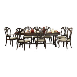 "Hillsdale Furniture - Nine-Piece Dining Set with Large Extension Ta - Includes Table, 6 Side Chairs and 2 Arm Chairs. Table can seat up to ten people. Rich, dark cherry finish. Hint of antique styling. Table without leaf measures 95"", with leaf 109"". Table: 30 in. H x 95 in. L x 44 in. W (with Leaf 109 in. L. Side Chairs: 41.25 in. H x 23.25 in. W x 22.5 in. D . Arm Chairs: 41.25 in. H x 23.25 in. W x 24.52 in. D"
