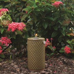 """Smart Solar - Apollo Ceramic Garden Torch - 13"""" H - Sierra Garden - Hand crafted 13""""H ceramic garden torch. Outdoor accent piece to line walkways or use as centerpiece. Glazed ceramic finish.. Aluminum cylinder with wick. Burns for approximately 1 hour per 1 ounce of lamp oil (not included). Can be used with citronella lamp oil to keep mosquitoes away. One year limited warranty. 7 in. Diameter x 13 in. HThe Apollo ceramic garden torch is an outdoor accent piece perfect for lining walkways or using as a centerpiece on a table. Create warmth and ambiance with this hand crafted fire pot with a unique Sierra Garden green glazed finish. It burns for approximately one hour per one ounce of lamp oil used. Cylinder includes wick."""