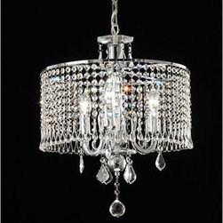 "WAREHOUSE OF TIFFANY - Elija Crystal Chandelier - This Elija Crystal Chandelier creates a glamorous sparkling pendant that complements your modern look. Made of metal with clear crystal, stands 16in H21in, uses bulb 3x60W type E14, includes 40"" chain."