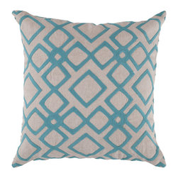 Surya Rugs - 18-Inch Square Blue Jay and Peach Cream Patterned Linen Pillow Cover with Poly I - - 18 x 18 100% Linen Pillow Cover w/ Poly Insert.   - For more than 35 years, Surya has been synonymous with high quality, innovation and luxury.   - Our designers have masterfully created some of the most cutting edge and versatile pieces to bring out the best in every room.   - Encompassing their expert understanding of the latest trends in fashion and interior design, each product is a perfect combination of color, pattern and texture to accommodate the widest range of tastes.   - With Surya, the best in design and quality is at your fingertips.   - Pantone: Blue Jay, Peach Cream.   - Made in India.   - Care Instructions: Spot Clean.   - Cover Material: 100% Linen.   - Fill Material: Poly Fiber. Surya Rugs - COM013-1818P