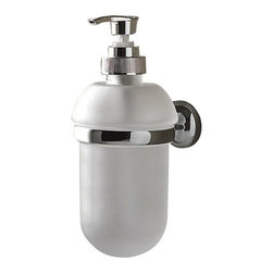 Toscanaluce - Wall Mounted Round Frosted Glass Soap Dispenser - Unique, modern design wall mount soap dispenser.