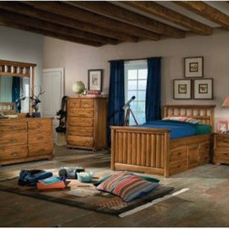 Timberline Captains Bed Collection - The Timberline Captains Bed Collection combines woodland style with plenty of storage space to create a bed your kid will love. A captain's storage pedestal is stored beneath the bed and includes four drawers and one door. The drawers are all 14.5-inches deep and both the drawers and the door feature barrel strap style hardware in a rustic metal finish with faux nail heads on each end. Both the bed and the storage pedestal have solid wood and veneer construction to give it the strength and style to last for years. Don't be surprised if this bed follows him to his first apartment. You can add the nightstand and chest for one easy way to outfit the whole room! It's the smart way to shop. Nightstand:2 drawers measuring 14.5-inches deepBarrel strap hardware in rustic metal finishMeasures 23.75W x 16D x 24H inchesChest:5 drawers measuring 14.5-inches deepBarrel strap hardware in rustic metal finishMeasures 38.5W x 18D x 50 5/8H inches Featuring a saddle brown finish that beautifully highlights the wood's natural grain this bed features decorative head and footboards with wide slat panels rounded corners and gently curved bedposts. Just choose your size.Twin Bed Dimensions:Headboard: 45.75W x 3D x 45H inchesFootboard: 45.75W x 3D x 30H inchesFull Bed dimensions:Headboard: 60.75W x 3D x 45H inchesFootboard: 60.75W x 3D x 30H inchesCaptain's storage pedestal measures 76L x 16.25W x 17.75H inches.About American WoodcraftersFor unparalleled quality and value choose American Woodcrafters for your youth or master bedroom furniture. Founded in 1996 as a division of Rockford Capital Corporation and located in High Point N.C. American Woodcrafters is the brainchild of John N. Foster. His 40 years of experience in manufacturing marketing and product development inspire the company to deliver superior furniture designs of exceptional value. Each exquisite furniture piece is well-made and creatively styled with a fine quality finish and innovative features to make your home more beautiful and functional.