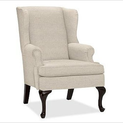 "Gramercy Upholstered Wingback Armchair, Erin Linen Oatmeal - A design standout, this armchair has sloping wings, double-scroll arms and cabriole legs that define it as a Queen Anne Wingback. 29.5"" wide x 34"" deep x 42"" high Corner blocked frame for structural integrity. Tight back is thickly padded for extraordinary comfort. Heavy gauge sinuous springs support a T-shaped seat cushion with a solid foam core that's wrapped in plush padding. Espresso-stained hardwood legs. This item can also be customized with your choice of over {{link path='pages/popups/fab_leather_popup.html' class='popup' width='720' height='800'}}80 custom fabrics and colors{{/link}}. For details and pricing on custom fabrics, please call us at 1.800.840.3658 or click Live Help. View and compare with other collections at {{link path='pages/popups/furniture_DOC.html' class='popup' width='720' height='800'}}Upholstery Furniture Facts{{/link}}. Watch a video about the high quality of our {{link path='/stylehouse/videos/videos/pbq_v22_rel.html?cm_sp=Video_PIP-_-PBQUALITY-_-OUR_UPHOLSTERY' class='popup' width='950' height='300'}}upholstered furniture{{/link}}. Made in USA."