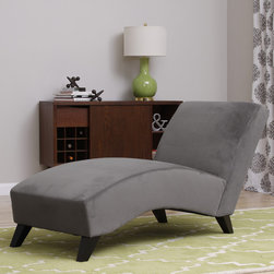 None - Bella Charcoal Grey Chaise - Bring style and comfort to your home with the charcoal-colored Bella chair. This casual,fully upholstered chaise is built in a contoured design.