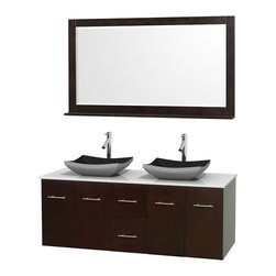 "Wyndham Collection - Centra 60"" Espresso Double Vanity, White Man-Made Stone Top, Black Granite Sinks - Simplicity and elegance combine in the perfect lines of the Centra vanity by the Wyndham Collection. If cutting-edge contemporary design is your style then the Centra vanity is for you - modern, chic and built to last a lifetime. Available with green glass, pure white man-made stone, ivory marble or white carrera marble counters, with stunning vessel or undermount sink(s) and matching mirror(s). Featuring soft close door hinges, drawer glides, and meticulously finished with brushed chrome hardware. The attention to detail on this beautiful vanity is second to none."