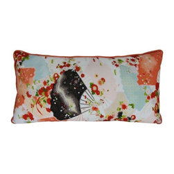 Used Vintage Kimono Pillow - Vintage kimono pillow. The silk fabric from the kimono has a pattern of flowers and fans in burnt orange, powder blue, black, white and bright green. The backing is a solid burnt orange.