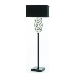 AF Lighting - Silver Foil Floor Lamp with Black Square Base and Black Shade - Grill floor lamp is crafted in laser cut metal finished in silver foil and black square base. The Grill floor lamp requires simple assembly. The shade on this floor lamp is black poly silk hardback square. 2 - 60 watt Edison base bulbs not included.60 H X 18 W. Due to hand crafting, no 2 floor lamps are alike.