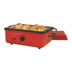 Nesco - Nesco Cookwell Red 5-quart Porcelain Roaster Oven - This 5-quart Nesco Cookwell roaster oven will roast, bake, cook, steam, slow cook and serve. This conveniently sized roaster oven is great for small families, and comes with a chrome-plated roasting and baking rack.