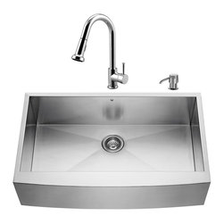 """VIGO Industries - VIGO All in One 36-inch Farmhouse Stainless Steel Kitchen Sink and Chrome Faucet - Breathe new life into your kitchen with a VIGO All in One Kitchen Set featuring a 36"""" Farmhouse - Apron Front kitchen sink, faucet, soap dispenser, matching bottom grid and sink strainer."""
