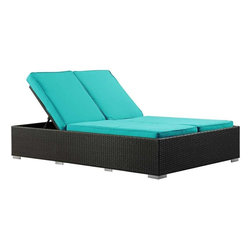 Modway - Evince Chaise in Espresso Turquoise - Fuse together balanced portrayals with the Evince Chaise Lounge. Bring a tangible expression to your outdoor porch or pool setting from heightened perspectives. With a dual-adjustable upper portion and cushions on an espresso rattan base, demonstrate your objectives while holding onto guarded elegance.