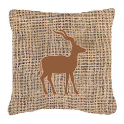 Caroline's Treasures - Deer Burlap and Brown Fabric Decorative Pillow Bb1121 - Indoor or Outdoor pillow made of a heavy weight canvas. Has the feel of Sunbrella fabric. 14 inch x 14 inch 100% Polyester Fabric pillow Sham with pillow form. This pillow is made from our new canvas type fabric can be used Indoor or outdoor. Fade resistant, stain resistant and Machine washable.