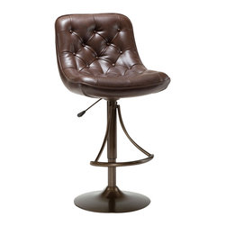 Hillsdale Furniture - Hillsdale Aspen 24-30 Inch Barstool in Copper - Functional and fashion forward, Hillsdale Furniture's tufted Aspen barstool is sure to compliment any transitional or contemporary decor. Finished in your choice of two easy to maintain faux leathers, a versatile black with an oyster gray metal finish or a deep brown with a warm copper metal finish, this 360 degree swivel barstool features a sturdy metal construction and a handy lift mechanism that allows the stool to adjust from counter to bar heights.