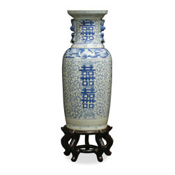 "China Furniture and Arts - Vintage Q'ing Double Happiness Vase - This vintage vase has the classic ""Double Happiness"" motif ( a traditional wedding theme), dated from the late Q'ing dynasty circa 1880). No two exactly alike, please allow us to select for you. Matching wooden stand sold separately."