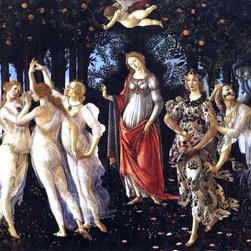 "Sandro Botticelli Primavera - 16"" x 24"" Premium Archival Print - 16"" x 24"" Sandro Botticelli Primavera premium archival print reproduced to meet museum quality standards. Our museum quality archival prints are produced using high-precision print technology for a more accurate reproduction printed on high quality, heavyweight matte presentation paper with fade-resistant, archival inks. Our progressive business model allows us to offer works of art to you at the best wholesale pricing, significantly less than art gallery prices, affordable to all. This line of artwork is produced with extra white border space (if you choose to have it framed, for your framer to work with to frame properly or utilize a larger mat and/or frame).  We present a comprehensive collection of exceptional art reproductions bySandro Botticelli."