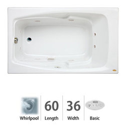 "Jacuzzi - Jacuzzi CET6036 WRL 2HX W White Cetra 60"" x 36"" Cetra  Drop In Comfort - Cetra  Collection:Tub apron sold separately - when adding to cart apron option will be presentedUncomplicated, straightforward, and utterly heavenly. JacuzziÂ's  Cetra  whirlpool tub from the Comfort collection is ideal for both traditional and contemporary settings. Eight jets will flush the fatigue right out of your tired muscles and bones. The Cetra  comfort tub comes with sculpted armrests, a contoured backrest, and is available in four different colors (white, black, almond, and oyster). Choose from three different sizes for your Soaking, Pure Air , or Whirlpool experience with the Jacuzzi  Cetra  tub.Integrated Dual-Armrests - Convenient armrests are sculpted into the bathing wellContoured Backrest - Form-fitting backrest is designed to be more comfortable to lean back againstMeasurements:60""L x 36""W x 21.25""HComfort Whirlpool:At its most basic form, the three things needed to create a whirlpool experience are water (moved through a pump), air (mixed with the water), and jets (Therapro and AccuPro). Jacuzzi s  Comfort Whirlpool models do just this. A single speed motor and patented fixed airflow system push mixed water through 5-8 jets. Luxury models take things even further by swapping out the single-speed motor for a multi-speed motor and upgrading the airflow systems to electronically operated and patented Silent Air  Induction technologies. Luxury Models tend to have double (in some cases, triple) the jets of Comfort models, enhanced user controls, and a number of optional high-tech upgrades including Whisper technology, Illumatherapy lighting, and LCD user controls. When Shopping Jacuzzi  Whirlpools it is important to understand what you are looking for. For some, it is a basic model that offers invigorating bathes at an excellent price-point."