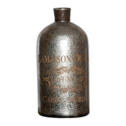 Uttermost - Uttermost Lamaison Traditional Mercury Glass Bottle X-25791 - Silver mercury style glass with brass wire accents.