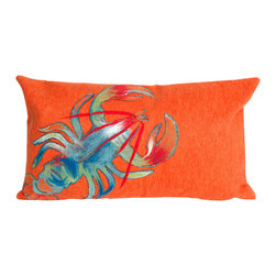 "Trans-Ocean Inc - Lobster Orange 12"" x 20"" Indoor Outdoor Pillow - The highly detailed painterly effect is achieved by Liora Mannes patented Lamontage process which combines hand crafted art with cutting edge technology. These pillows are made with 100% polyester microfiber for an extra soft hand, and a 100% Polyester Insert. Liora Manne's pillows are suitable for Indoors or Outdoors, are antimicrobial, have a removable cover with a zipper closure for easy-care, and are handwashable.; Material: 100% Polyester; Primary Color: Orange;  Secondary Colors: blue, green, red, white; Pattern: Lobster; Dimensions: 20 inches length x 12 inches width; Construction: Hand Made; Care Instructions: Hand wash with mild detergent. Air dry flat. Do not use a hard bristle brush."