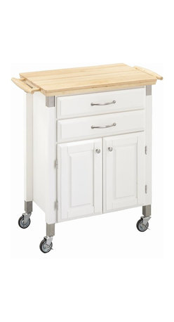 HomeStyles - Kitchen Cart in White Finish - Natural top. Two easy open drawers on glides. Towel bar at each end. Two doors with storage area inside. Four industrial grade rubber casters with two locking. Stainless steel accents. Brushed steel hardware. Clear coat finish helps to minimize wear from normal use. Made from Asian hardwood and engineered wood. Made in Thailand. 31 in. L x 17.75 in. W x 36 in. H. Assembly InstructionsThe home styles prep and serve cart's compact design is ideal for small spaces needing a bit more storage and work surface. The style is clean and simple.